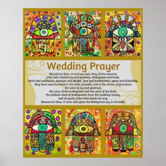 Jüdische Hochzeits-Gebet goldenes Hamsa Plakat