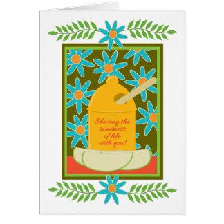 Jüdische neues Jahr-Honig-Apfel-und Karte