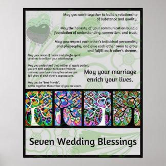 Jüdischer sieben Wedding Segen-Baum des Lebens Ham Plakate