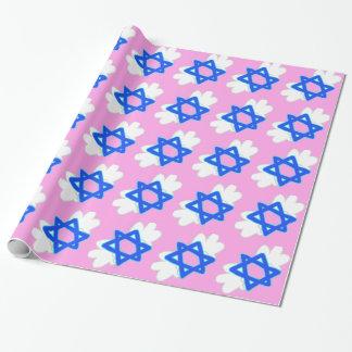 Jüdischer Stern mit Mitzvah wings, rosa Packpapier Geschenkpapier
