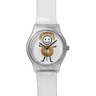 Jüdisches Geschenk Uhr-D Bagel-Kind Armbanduhr