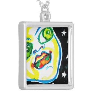 Jugend- und Optimismus-Aquarell hängend gemalt Versilberte Kette