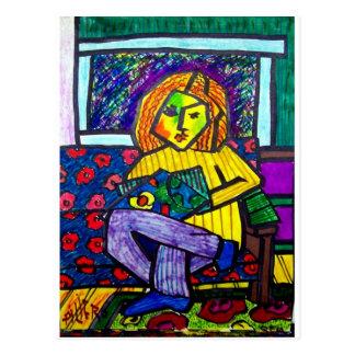 Jugendlich auf Couch durch Piliero Postkarte