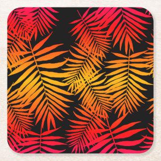 Jugendlich Mädchen-Palme-Blatt-orange rosa Kartonuntersetzer Quadrat