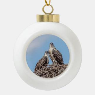 Jugendlicher Osprey im Nest Keramik Kugel-Ornament
