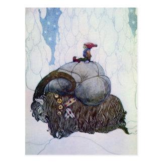 Julbocken ReitWeihnachten-Ziege Postkarte