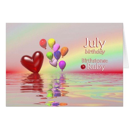 Juli-Geburtstags-Rubin-Herz Karte