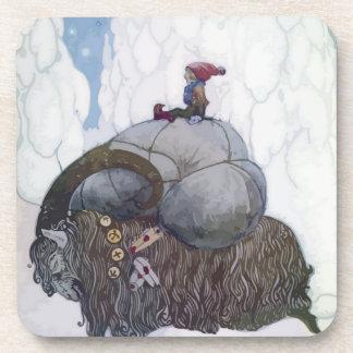 Jullbocken die Weihnachten-Ziege, die von einem Untersetzer