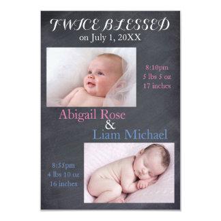 Jumeaux deux fois bénis - faire-part de naissance