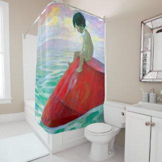Junge auf einem Bojen-Duschvorhang Duschvorhang