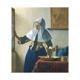 Junge Frau Johannes Vermeer mit einem Wasser-Krug Leinwanddruck