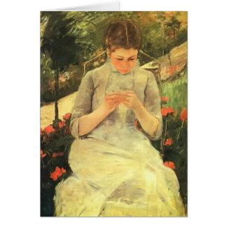 Junge Frau Marys Cassatt-, die im Garten näht Grußkarte