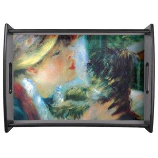 Junge Frau mit ihrer HundRenoir schönen Kunst Tablett