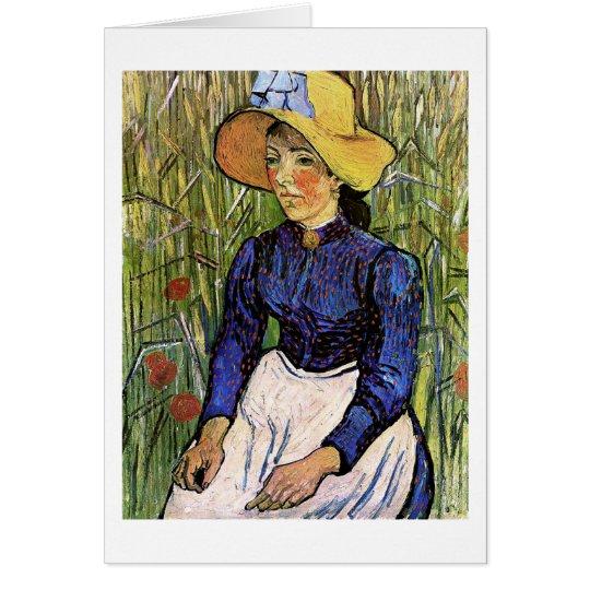Junge Frau mit Strohhut-Van- Goghschöner Kunst Mitteilungskarte