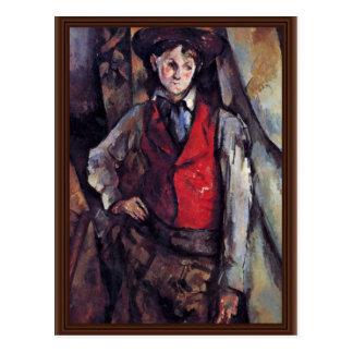 Junge in einer roten Weste, durch Paul Cézanne Postkarte