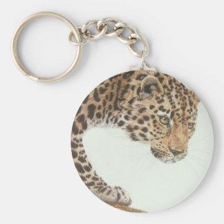 Junge Leopard-Malerei Schlüsselanhänger