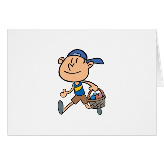 Junge mit Ostern-Korb Grußkarte
