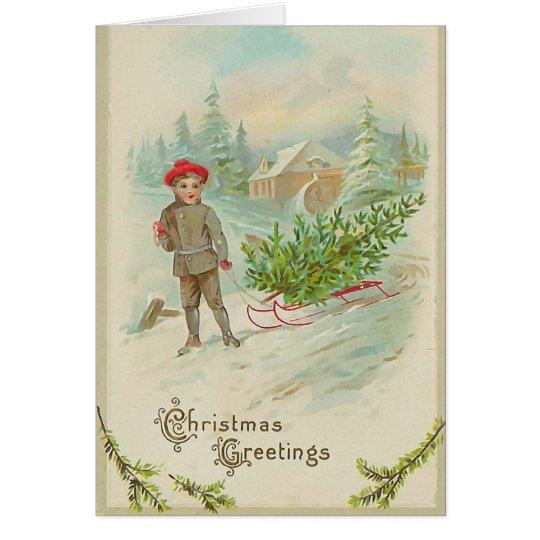 Junge mit Schlitten-Weihnachtskarte Karte