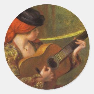 Junge spanische Frau mit einer Gitarre durch Runder Aufkleber