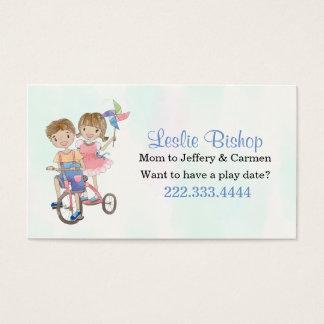 Junge und Mädchen auf Visitenkarten