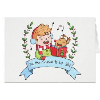 Junge und Ren Tis die Jahreszeit, zum lustige Grußkarte
