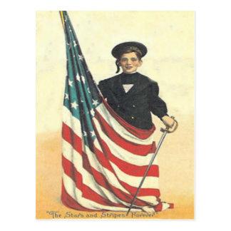Junge US-Flaggen-Uniform-Volkstrauertag Postkarte