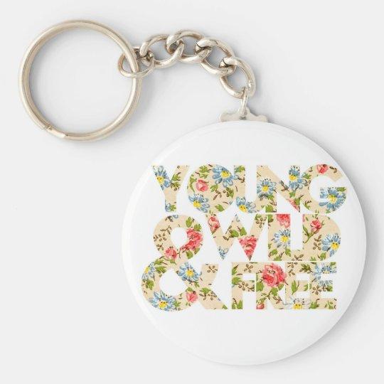 Junge wilde u. freie Blumengraphik Schlüsselanhänger