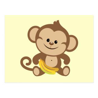 Jungen-Affe mit Banane Postkarte
