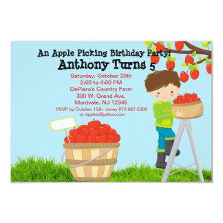 Jungen-Apple-Sammeln-Geburtstags-Party Browns 8,9 X 12,7 Cm Einladungskarte