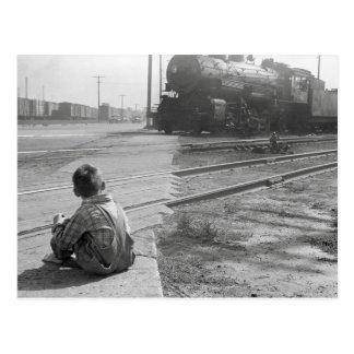 Jungen-aufpassende Züge, 1939 Postkarte