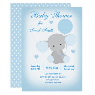 Jungen-Babyparty-blaue Elefant-Einladung Karte