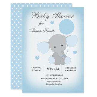 Jungen-Babyparty-Einladungs-Elefant-Blau Karte