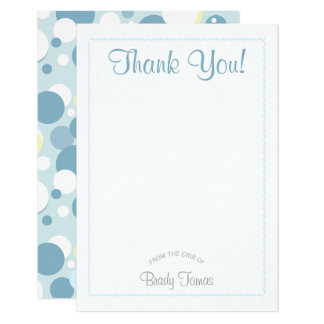 Jungen-Blasen-Babyparty danken Ihnen zu kardieren 8,9 X 12,7 Cm Einladungskarte