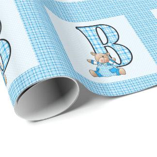 """Jungen-Buchstabe """"B"""" mit Teddybären und blauem Geschenkpapier"""