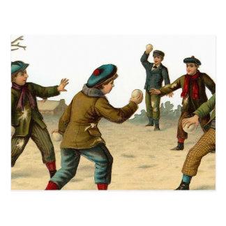 """""""Jungen, die Schneeball-"""" Vintages Weihnachten Postkarte"""