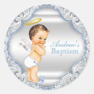 Jungen-Engels-Taufe-Taufe Runder Aufkleber