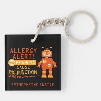 Jungen-Erdnuss-Allergie-Alarm-Orangen-Roboter Schlüsselanhänger