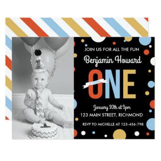 Jungen-erste Geburtstags-Einladung - Tupfen Karte