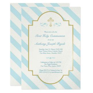 Jungen-erste heilige Kommunions-Einladungs-blaue 12,7 X 17,8 Cm Einladungskarte