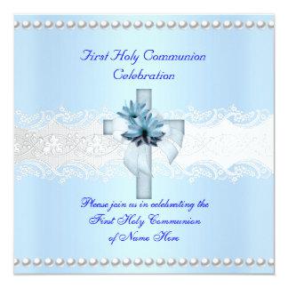 Jungen-erste heilige Kommunions-weiße Quadratische 13,3 Cm Einladungskarte