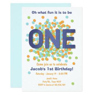 Jungen-erster Geburtstags-EinladungConfetti EIN 12,7 X 17,8 Cm Einladungskarte