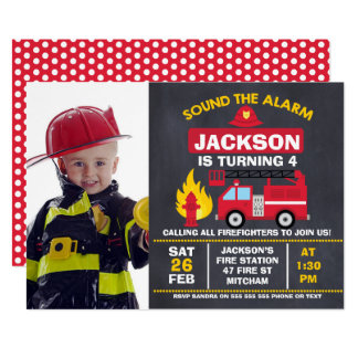 Jungen-Foto-Feuer-Motor-Geburtstags-Einladung Karte