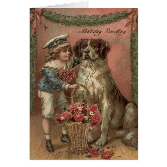 Jungen-HundeRosen-Korb-Geburtstag Grußkarte