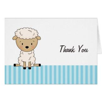Jungen-Lamm-Babyparty-blauer Streifen danken Ihnen Karte