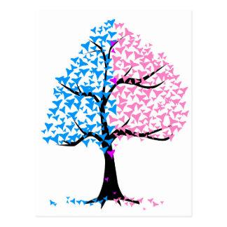 Jungen-Mädchen-Herz-Baum Postkarte