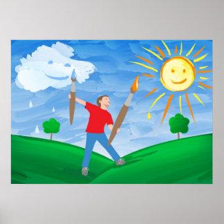 Jungen-Malerei-Himmel Posterdrucke