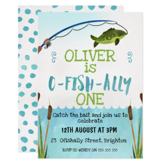 Jungen O-Fish_Ally Aquarell-Geburtstags-Einladung Karte