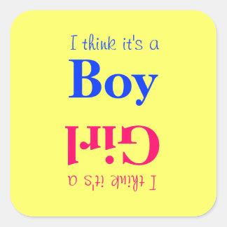 Jungen-oder Mädchen-Baby-Geschlecht decken Quadratischer Aufkleber