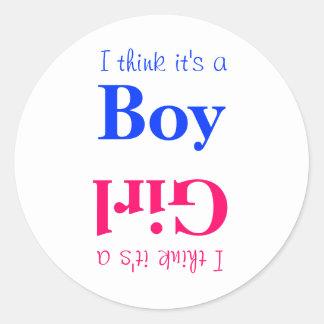Jungen-oder Mädchen-Baby-Geschlecht decken Runder Aufkleber