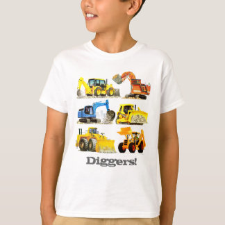 Jungen-riesige Bau-Gräber und Bagger T-Shirt